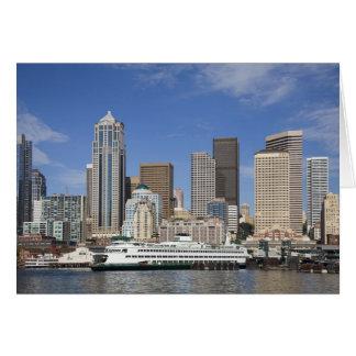 WA, Seattle, Seattle skyline with ferry boat Card