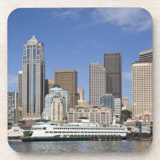 WA, Seattle, Seattle skyline with ferry boat Drink Coaster