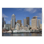 WA, Seattle, Seattle skyline with ferry boat Greeting Card
