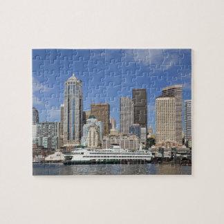 WA, Seattle, Seattle skyline with ferry boat Jigsaw Puzzle