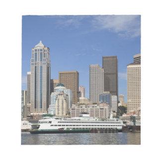 WA, Seattle, Seattle skyline with ferry boat Notepad