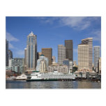 WA, Seattle, Seattle skyline with ferry boat Post Card