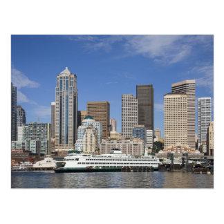 WA, Seattle, Seattle skyline with ferry boat Postcard