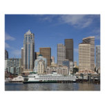 WA, Seattle, Seattle skyline with ferry boat Print