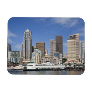 WA, Seattle, Seattle skyline with ferry boat Rectangular Photo Magnet