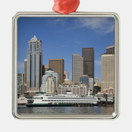WA, Seattle, Seattle skyline with ferry boat Square Metal Christmas Ornament