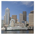WA, Seattle, Seattle skyline with ferry boat Ceramic Tiles