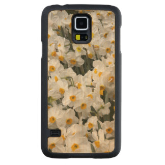 WA, Skagit Valley, Daffodil pattern Carved Maple Galaxy S5 Slim Case