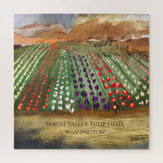 WA Skagit Valley Tulip Fields Spring Dreaming Jigsaw Puzzle