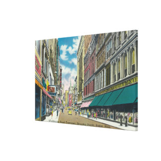 WA Street Downtown Shopping District Scene Canvas Print