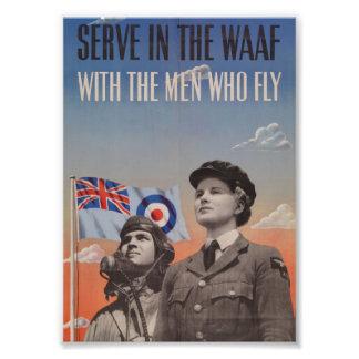 WAAF en uniforme con el piloto al lado de ella Cojinete