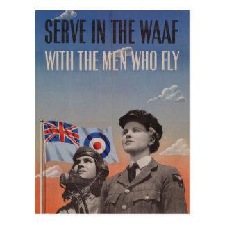WAAF en uniforme con el piloto al lado de ella Tarjetas Postales