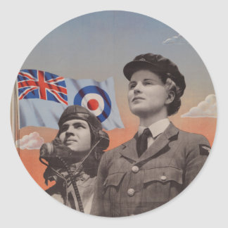 WAAF in Uniform with Pilot Beside Her Classic Round Sticker