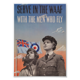 WAAF in Uniform with Pilot Beside Her Photo Print