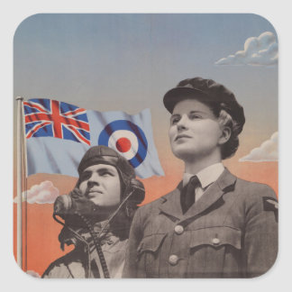 WAAF in Uniform with Pilot Beside Her Square Sticker