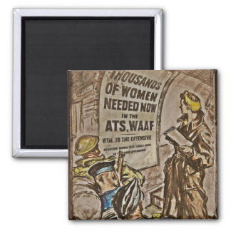 WAAF Recruitment Image 2 Inch Square Magnet