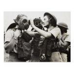 WAAF wearing gas masks Postcard