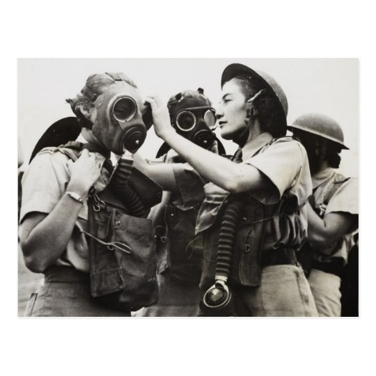 WAAF wearing gas masks Postcard