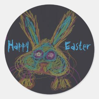Wabbit el conejo - pegatinas felices de Pascua Pegatina Redonda