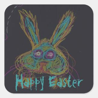 Wabbit los pegatinas felices 2 de Pascua del Pegatina Cuadrada