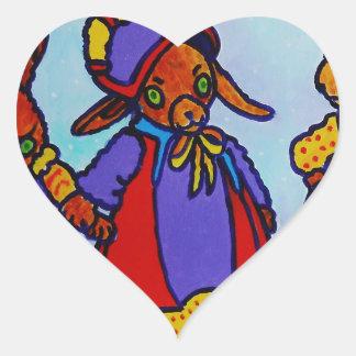 Wabbits Pegatina En Forma De Corazón