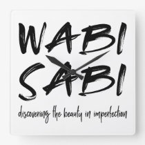 Wabi sabi square wall clock