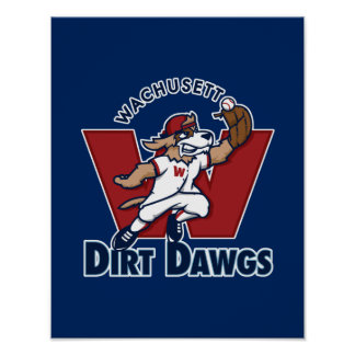 Wachusett Dirt Dawgs Collegiate Baseball Team Logo Poster