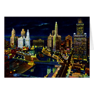 Wacker Drive at Night in Chicago Illinois Card