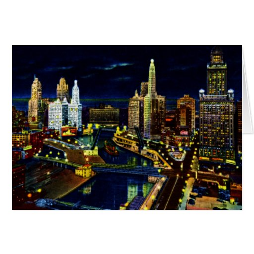 Wacker Drive at Night in Chicago Illinois Cards