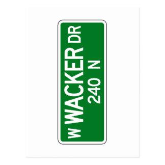 Wacker Drive, Chicago, IL Street Sign Postcard