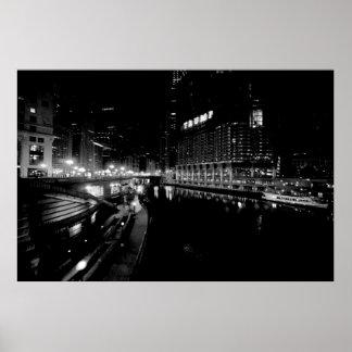 WACKER DRIVE & CHICAGO RIVER POSTER