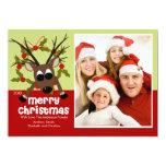 "Wacky Reindeer Fun Christmas Flat Photo Card 5"" X 7"" Invitation Card"