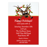"Wacky Reindeer Happy Holiday Party Invitation 5"" X 7"" Invitation Card"