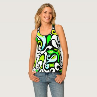 Wacky Retro Swirl Watercolor Doodle Tank Top