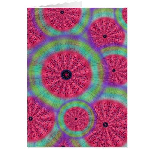 Wacky Sunshine Watermelon Mandala Note Card