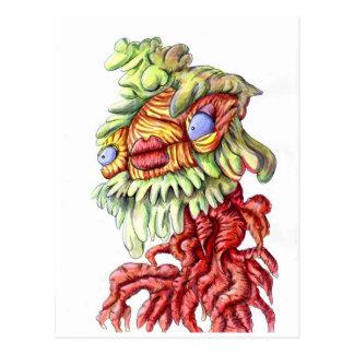 Wacky tree man monster cartoon postcard