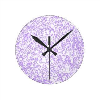 Wacky waves and shapes purple lavendar round clock