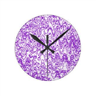 Wacky waves and shapes purple round clock