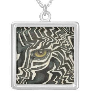 Wacky Zebra Eye Necklace