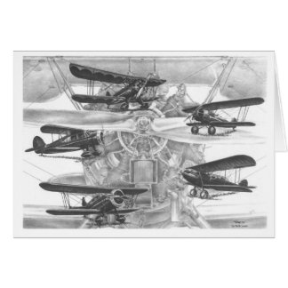 Waco Biplane Aviation Drawing by Kelli Swan Stationery Note Card
