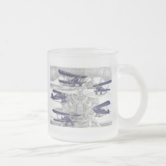 Waco Biplane Frosted Glass Coffee Mug