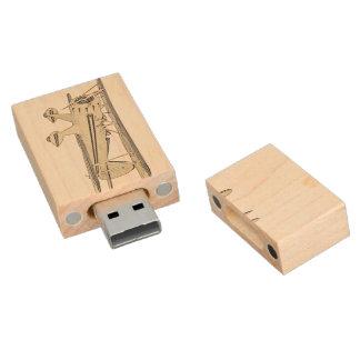 Waco Biplane Wood USB Flash Drive
