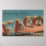 Waco, letra ScenesWaco, TX de TexasLarge Póster