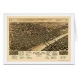 Waco, mapa panorámico de TX - 1886 Felicitación