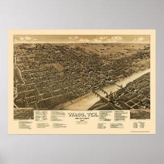 Waco, mapa panorámico de TX - 1886 Póster
