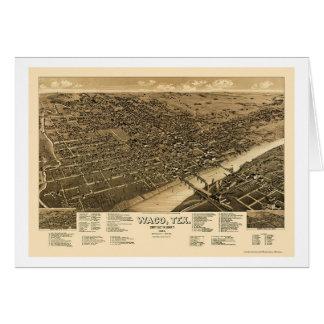 Waco, mapa panorámico de TX - 1886 Tarjeta De Felicitación