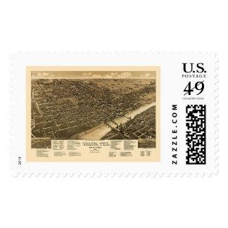 Waco, mapa panorámico de TX - 1886 Timbre Postal