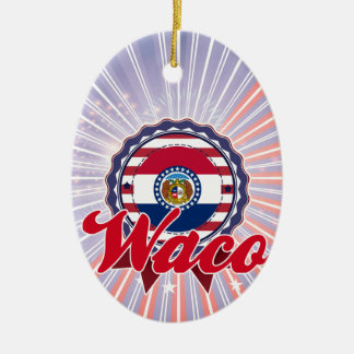 Waco, MO Double-Sided Oval Ceramic Christmas Ornament
