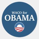 WACO para el personalizado de Obama su ciudad Pegatinas Redondas