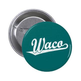 Waco script logo in white distressed button